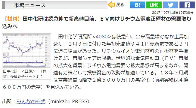 田中化学研究所のニュース画像
